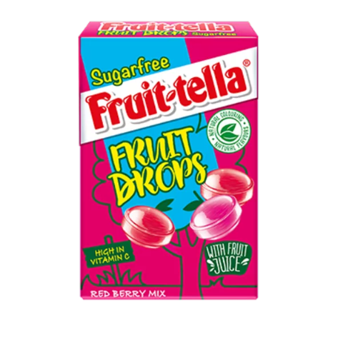 Red Berry Mix Strawberry & Raspberry Sugar Free Fruit Drops - Fruittella Sweets Box 45g